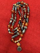 Antique Tibetan Striped Agate Amber Silver Beaded Necklace W/ Sterling Pendant