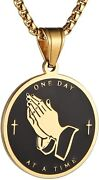 Serenity Prayer Cross Stainless Steel Necklace Praying Hands Coin Medal Pendant