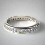 1.00 Ct Real Diamond Proposal Band For Women Solid 14k White Gold Size 5 6 7 8 9