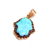 14k Rose Gold Jewish Hamsa Necklace Charm Antique Style Opal With Garnets 20mm