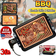 Large Electric Bbq Grill Non Stick Meat Barbeque Griddle Teppanyaki Smokeless