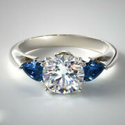 Real 1.80 Ct Diamond Blue Sapphire Wedding Rings Solid 14k White Gold Size 7 8 9