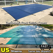 Rectangle Green Blue Mesh Swimming Pool Winter Safety Cover Inground