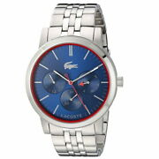 Lacoste Menand039s And039metroand039 Quartz Stainless Steel Watch Colorsilver-toned Model 2