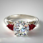 Real 1.56 Carat Diamond Ruby Engagement Ring Solid 14k White Gold Rings Size 6 8