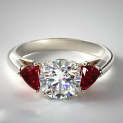 Natural 1.80 Ct Diamond Ruby Women Wedding Ring Solid 14k White Gold Size 7 8 9