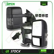 For 99-16 F250 F350 F450 F550 Super Duty Mirrors Pair Manual Towing Led Signals
