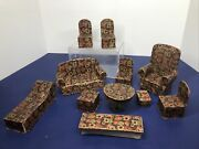 Antique 1900-1920 Doll House Furniture 10 Piece Living Room Set Candy Box As Is