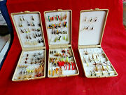 3x Vintage Danica Pocket Plastic Fly Boxes + Good Collection Small Trout Flies