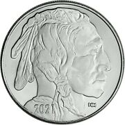 Two 2 1 Oz. Highland Mint Silver Round 2021 Buffalo And Indian Design .999 Fine