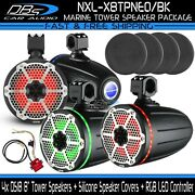 4x Ds18 Nxl-x8tpneo/bk 8 Marine Tower Speaker + Silicone Cover + Rgb Controller