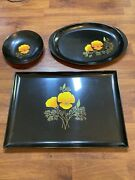 Vintage Couroc Of Monterey California Poppy Inlaid 2 Trays, And 1 Bowl Flower