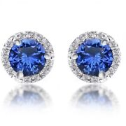 1.50 Carat Round Cut Blue Sapphire And Diamond Stud Earrings In 14k White Gold