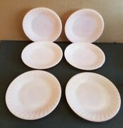 Vtg Fire King Oven Ware Pink Swirl 9 Dinner Plate Set Of 6 Made In Usa.