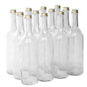 North Mountain Supply 750ml Clear Glass Bordeaux Wine Bottle Flat-bottomed - -