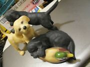 Franklin Mint Figurine Beginners Luck 3 Puppies And Decoy Porcelain 8x5 Inch