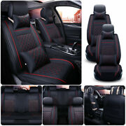 Blackandred Pu Leather Car Seat Cover 5-sits Suv Universal Accessories Full Set Us