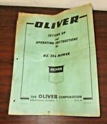 Oliver 356 Sickle Bar Mower Operators Owners Instructions Manual Book 1960
