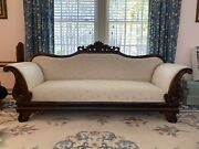 Fabulous Antique 19c American Empire Carved Wood Sofa Documents And Lineage
