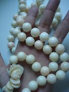 Vtg Antique Giftchunky 238g Deco Angel-skin Coral 14mm Bead 36 Necklacefree Sh