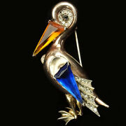Trifari Sterling And039alfred Philippeand039 Sapphire And Topaz Pelican Pin Clip