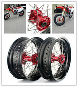 17and039and039 Roues Jante Moyeu Rouge Pr Honda Cr 125r 250r 02-13 Crf 250 450 R X 04-12