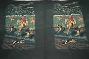 Rare Vintage Tapestry 2 Panels Hunting Scene Uncut Pillow Wall Decor Large