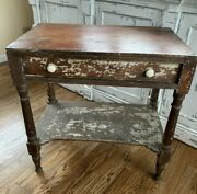 Antique Vintage Wood Wooden One Drawer End Side Nightstand Table Farmhouse