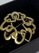 And Co Loving Heart Diamond Brooch 18ct Yellow Gold 20.6g Large Pendant