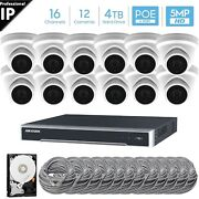 Hikvision 16 Ch 4k 8mp Poe Nvr 12x5mp Ip Turret Camera Cctv Security System