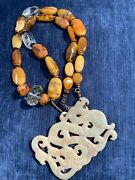 Vintage Amber Beads Exquisite Hand Carved Dragon Pendant Tibetan Necklace