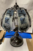 Dallas Cowboys 3 Way Touch Lamp Table Lamp 14 1/4andrdquo Tall 6 Glass Panels New