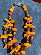 Vintage African Trade Venetian Glass Beads W/ Genuine Baltic Amber Necklace