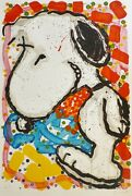Tom Everhart Hip-hop Chien Snoopy Peanuts Main Signandeacutee Xxl Lithographie