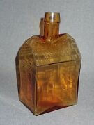 Mid Century E. C. Booz's Old Cabin Whiskey Bottle Great Amber Color Shear Top