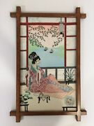 Japanese Geisha Counted Cross Stitch With Wooden Frame