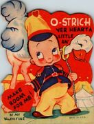 Vintage 1920s 30s Era Valentine Greeting Card Boy With Ostrich Make Room For Me