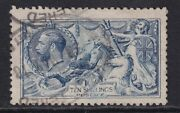 Sg 413 Gb George V 10s Pale Blue Seahorse Cat Value £875 - Good Used