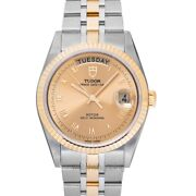 Tudor Date Day 76213-0021 Gold-tone Dial Menand039s Watch Genuine Freesandh