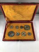 Set Of Old Antique Chinese Coins In A Vintage Collection Wood Box