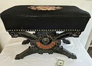 Fabulous Antique Eastlake Stool Slipper Bench Needlpoint Top With Old Repair