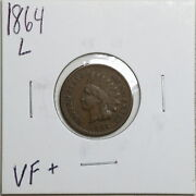 1864 L In Ribbon 1c Indian Head Cent In Vf+ Condition 03953