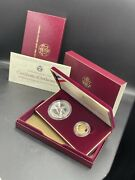 Us Mint 1988 Olympic Coins Proof Set Silver Dollar And Five Dollar Gold Coin Coa