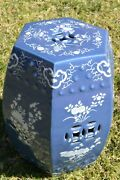 1930and039s Chinese Mazarin Blue And White Relief Porcelain Garden Seat Stool Chair