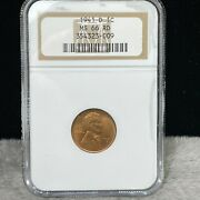 1941-d Uncirculated Lincoln Wheat Penny Ngc Ms 66 Rd 009