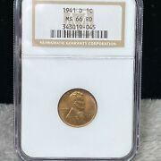 1941-d Uncirculated Lincoln Wheat Penny Ngc Ms 66 Rd 045