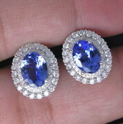 Gorgeous Natural Oval Blue Tanzanite Diamond Earrings Studs 14k Sold White Gold