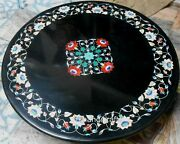 Vintage Art And Crafts Coffee Table Top Black Marble Island Table Size 30 Inches