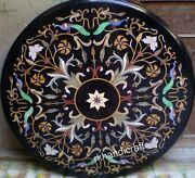Peacock Design Inlay Dining Table Top Round Marble Reception Table Top 42 Inches