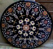 Floral Pattern Inlay Marble Dining Table Top Stone Conference Table 42 Inches